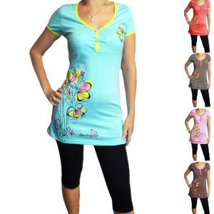 Блуза женская с печатью кулирка гладкоокрашенная Арт.255