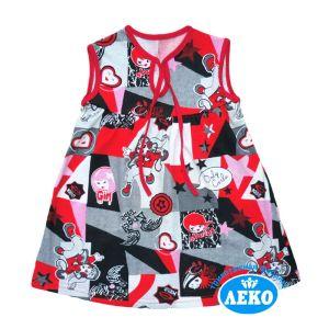 Платье для девочки без рукава кулирка набивная Арт.10