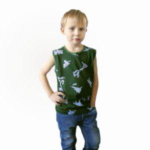 Майка для мальчика широкое плечо кулирка набивная Арт.115