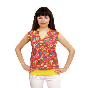 Блуза женская с капюшоном кулирка набивная Арт.99