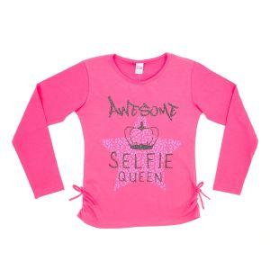 Блуза для девочки с печатью длинный рукав Арт.33952