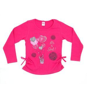 Блуза для девочки с печатью длинный рукав Арт.31827